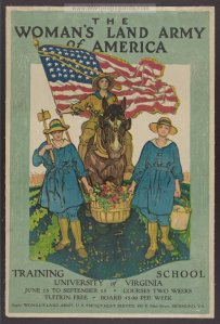 WWI. Women were the primary farmers, producing the food sources.