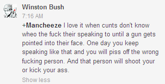 MRA's are violent. This comment was directed to me.