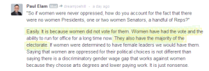 Elam says women were never oppressed cuz they vote. LOL