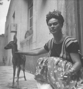 Frida Kahlo with pet Fawn 'Grani'