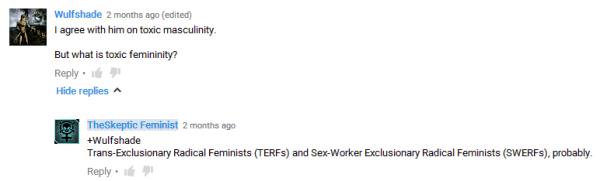 skeptic feminist TERFS and SWERFS